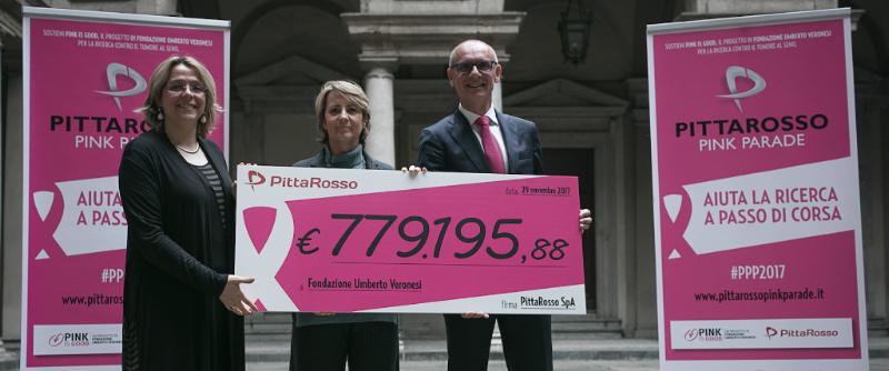 PittaRosso e Fondazione Umberto Veronesi: insieme per la ricerca contro i tumori femminili